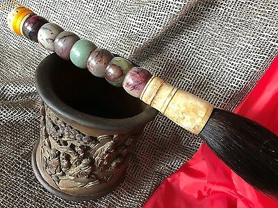 Old Chinese Agate Calligraphy Scholar Brush …beautiful colour stones