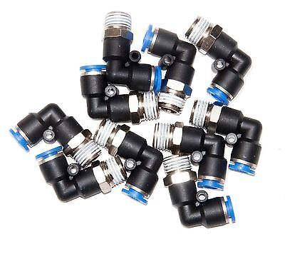 """10 Pieces 1/4"""" Tube x 1/4"""" NPT Swivel  """"L""""  pneumatic push to connect fitting"""