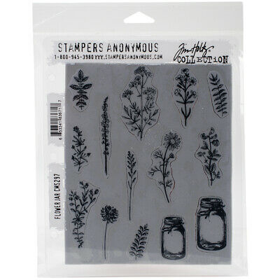 """Stampers Anonymous Tim Holtz Cling Stamps 7""""X8.5""""-Flower Jar"""