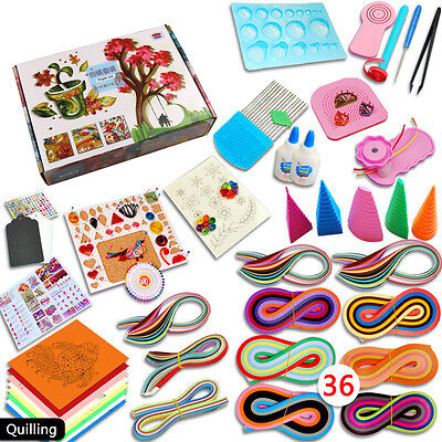 36 Colors 1140 Strips Paper Quilling Board Mould Crimper Comb Tool DIY Craft Kit