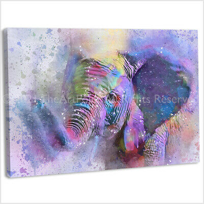 Elephant Abstract Watercolour Canvas Print Framed Animal Wall Art Picture .2