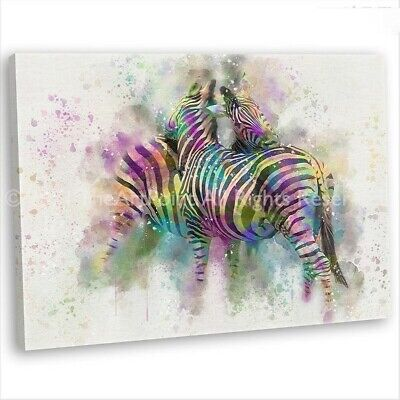 Multicoloured Zebra Abstract Canvas Print Framed Animal Wall Art Picture .3