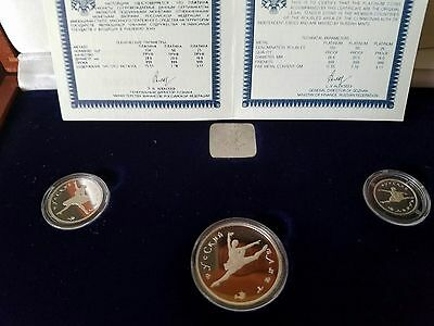 Russia 1994 3 Coins Platinum Proof Set - Ballerina,  With Box And Coa