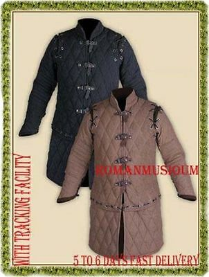 Padded BLACK & BROWN Gambeson Medieval thick play theater custom armor