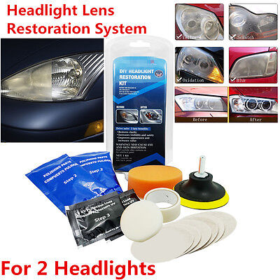 Universal Car Headlight Headlamp Cleaning Restoration Restorer Polish Tool Kit