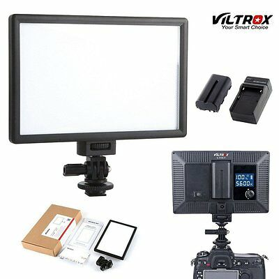 Viltrox 116 LED Slim LCD Bi-Color Dimmable Studio Video Light battery + charger