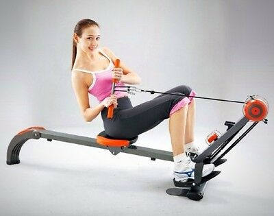 Training Rower Gym Foldable Exercise Arms Chest Back Shoulders Abs Footplates