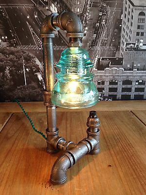 Steampunk Vintage Industrial Whitall Tatum Light Insulator Pipe Lamp