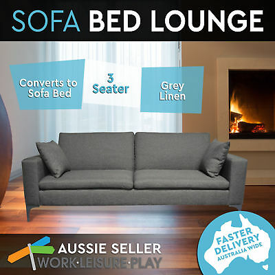 New Stylish Sweda 3 Seater Sofa Bed Adjustable Suite Couch Lounge Grey Fabric
