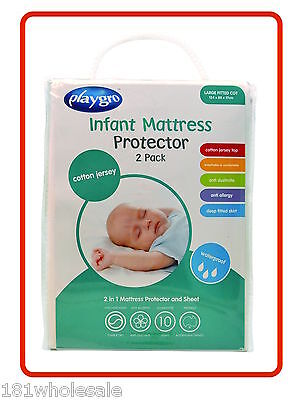❤ 2 x Cotton Jersey PLAYGRO Boori Large COT WATERPROOF MATTRESS PROTECTOR Twin ❤