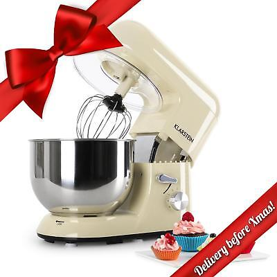 Deluxe Cream Electric Food Stand Mixer Table Top Bowl Guard 5L 1200W 6 Speed