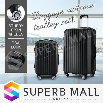 2pc Luggage Suitcase Trolley Set TSA Lightweight-Black Carry On Bag Hard Case