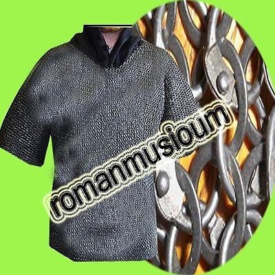 Chainmail-shirt-9-mm-Medium-Half-sleeve Round-Riveted-With-Flat-Washer--BLACK