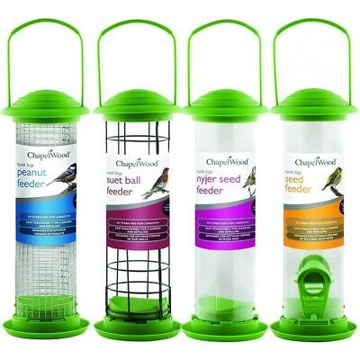 Garden Wild Bird Twist Top Feeders Seed Peanut Suet Nyjer ~ Chapelwood Bird Care