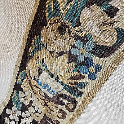 17th Century French Aubusson Tapestry Border Flowers Roses