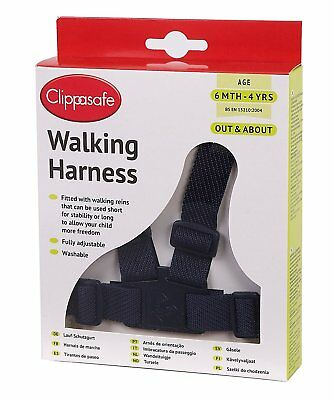 Clippasafe Toddler Walking Harness and Reins (Black)
