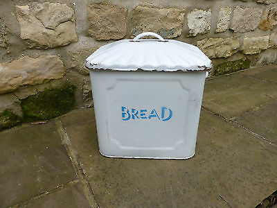 Vintage Enamel Bread Bin- White and Blue