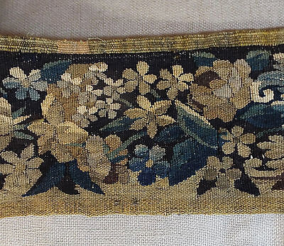 17th Century French Aubusson Tapestry Border Flowers Scrolling Vines