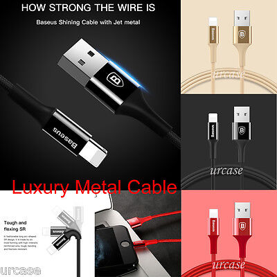 Luxury Baseus 1M Lightning Sync Data Cable  Metal Braided Fast Charger Fr Apple