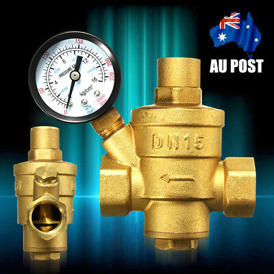 DN15 1/2 '' Brass Water Pressure Reducing Valve With Gauge Meter Flow Adjustable