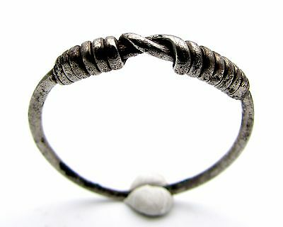 Viking Era Bronze Silver Twisted Knot Ring - Ancient Wearable Artifact - F105
