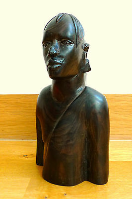 Vintage Hand Carved Ebony African Tribal Bust Figure Sculpture