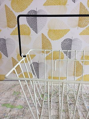 Vintage plastic coated white wire bicycle shopping basket with handle Industrial