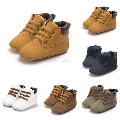 Baby Toddler Kid Boys Girls Ankle Boots Lace-Up Crib Shoes Soft Soled Sneakers