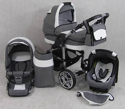 Pram Stroller Pushchair 3in1 ORION + FREE Car seat + 37 colours