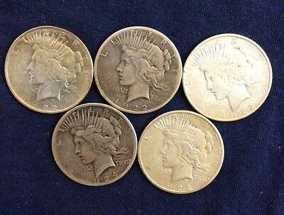 5 Peace Dollars Circulated Various Dates And Mint marks Z