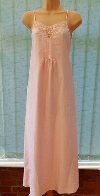 H82 Vtg St Michael M&s Pink Pintucked Lace Nightdress 12