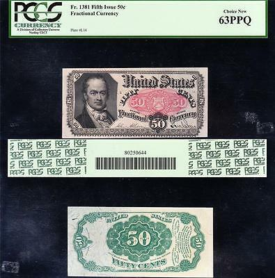 Awesome CHOICE UNCIRCULATED 5th Issue 50 cent Fractional! PCGS 63 PPQ! FREE SHIP