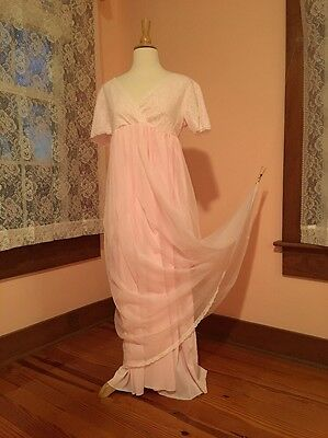 Long Vintage Pink Lace Double Layer Nightgown Size Small/Medium