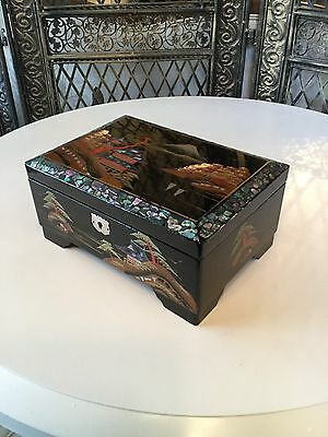 Unique Oriental Black Lacquered Hand Painted Jewelry Box With Abalini Inlays