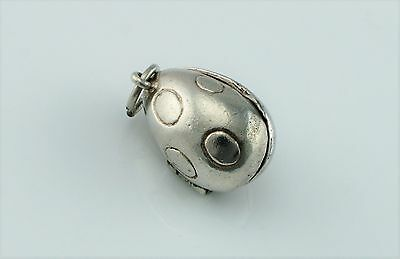 Rare Vintage Sterling Silver Opening Easter Egg Charm With Bunny Rabbit Inside