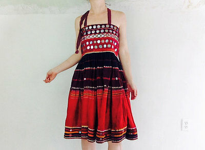 Banjara Sundress Vintage Textile. Tribal. Boho. Sizes 2-8. Mirrorwork.