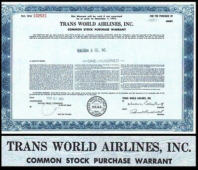Trans World Airlines Inc 1965 Stock Warrant Certificate
