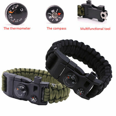 25CM Outdoor Survival Bracelet Paracord Watch Compass Fire Starter for Hiking