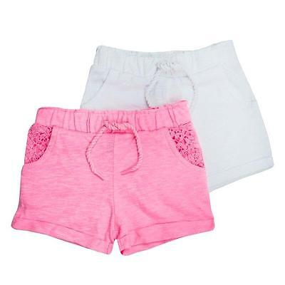 Girls Baby Toddlers 2 Pack Shorts Bright Pink & White Summer Set 6mths to 3-4yrs