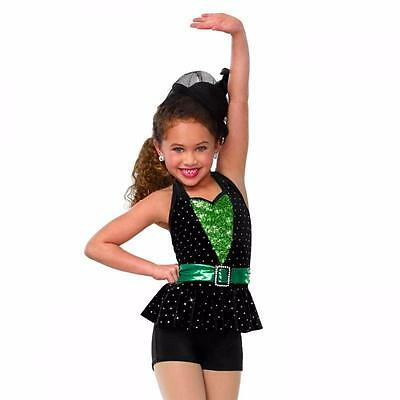Dance Costume Small Child Green Black Ballet Jazz Tap Sparkle Solo Competition