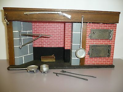 Artisan 1:12 Scale Dollhouse Miniature Colonial Walk In Fireplace w/Pewter Acces