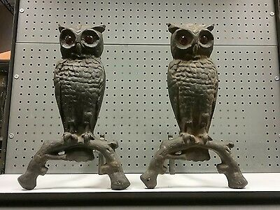 Vintage Cast Iron Owl Andirons Firedogs with Glass Eyes