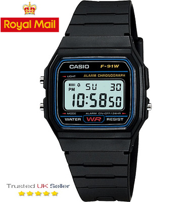 100% Original Casio F-91W Alarm Chronograph Classic Digital Strap Watch Black
