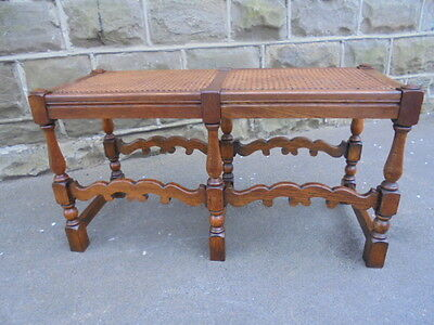 Antique Oak Bergere Stool Window Seat Piano Stool