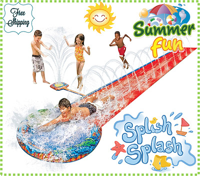 Water Slide Pool Aqua Toy Kids Summer Garden Spray Sprinkler Outdoor Splash Fun