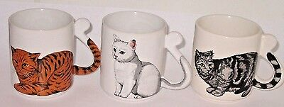 3 Vintage Cat Coffee Mugs with Tail Handles Made in Japan
