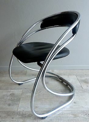 Fauteuil Chaise Metal Chrome Simili Moderniste Bauhaus Vintage Forme Art Deco