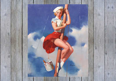 /'A FAST TAKEOFF/' 1954 GIL ELVGREN VINTAGE PIN UP GIRL POSTER PRINT 43x36 9 MIL