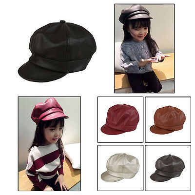 Children Kids Winter Warm PU Leather Beret Cap Newsboy Baseball Hat sun hat