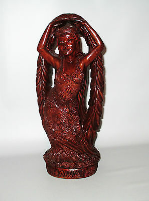 "Coco Joe Maile Laka Hula Goddess Dancer Figurine 11"" Hapa Wood Hawaii Tiki 1990"